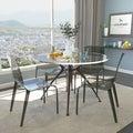 Laos Polycarbonate Transparent Black Dining Chairs (Set of 4)