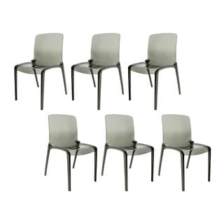 Laos Polycarbonate Transparent Black Dining Chairs (Set of 6)