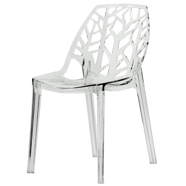 Somette Modern Flora Clear Cut-out Transparent Plastic Dining Chair