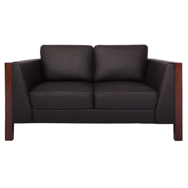 Somette Amelie Black Genuine Leather Loveseat