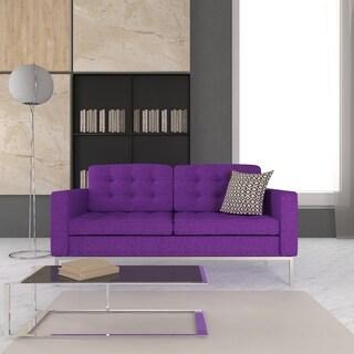 Flynn french inspired purple velvet upholstered sofa for Button tufted chaise settee velvet aubergine