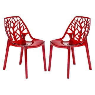Modern Flora Transparent Red Plastic Dining Chair (Set of 2)