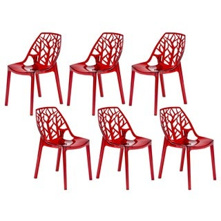 Modern Flora Transparent Red Plastic Dining Chair (Set of 6)