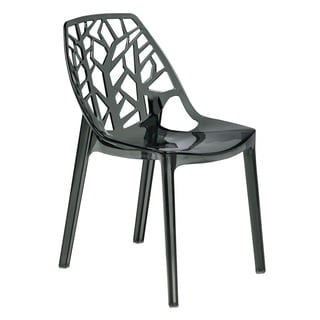 Modern Flora Transparent Black Plastic Dining Chair