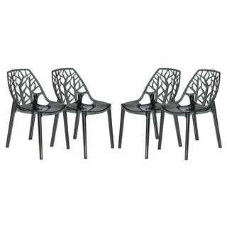 Modern Flora Transparent Black Plastic Dining Chair (Set of 4)