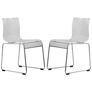 Moreno Transparent Clear Acrylic Modern Chair (Set of 2)