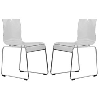 Somette Moreno Transparent Clear Acrylic Modern Chair (Set of 2)