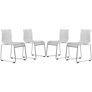Somette Moreno Transparent Clear Acrylic Modern Chair (Set of 4)