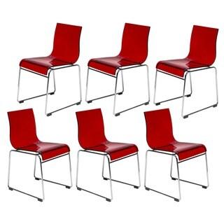 LeisureMod Moreno Transparen Red Chair (Set of 6)