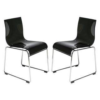 Moreno Transparent Black Acrylic Modern Chair (Set of 2)