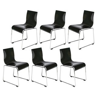 Moreno Transparent Black Acrylic Modern Chair (Set of 6)