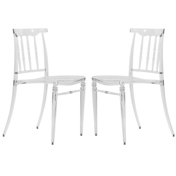 Somette Norco Clear Transparent Plastic Dining Chairs (Set of 2)