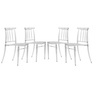 Norco Clear Transparent Plastic Dining Chairs (Set of 4)