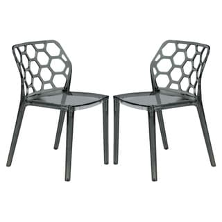 Somette Cove Transparent Black Acrylic Modern Dining Chair (Set of 2)