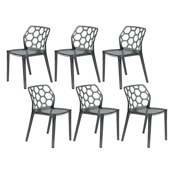 LeisureMod Cove Transparent Black Acrylic Modern Dining Chair (Set of 6)