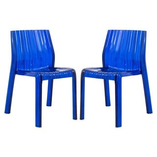 Denville Transparent Blue Plastic Dining Accent Chair (Set of 2)