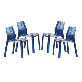 Denville Transparent Blue Plastic Dining Accent Chair (Set of 4)