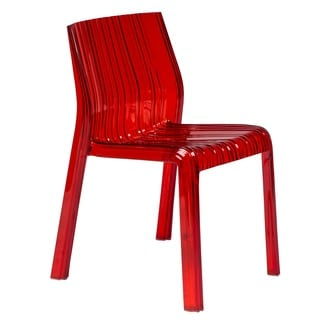 Denville Transparent Red Plastic Dining Accent Chair