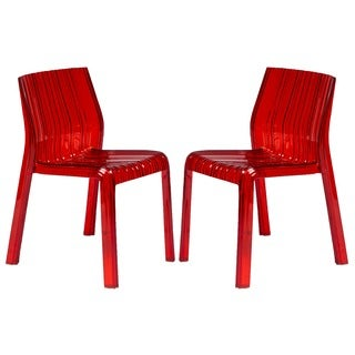 Denville Transparent Red Plastic Dining Accent Chair (Set of 2)