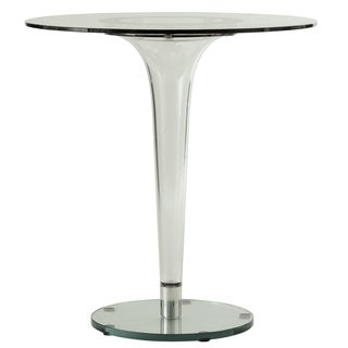 Linden Modern 28-inch Round Glass Accent Dining Table