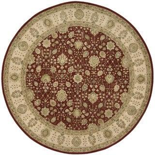 Nourison '3000' Round Red Oriental Wool Rug (6')