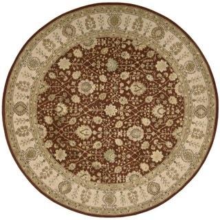 Nourison '3000' Round Rust Oriental Wool Rug (6')