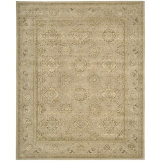 Floral Squares 3000 Beige Wool Area Rug (8'6 x 11'6)