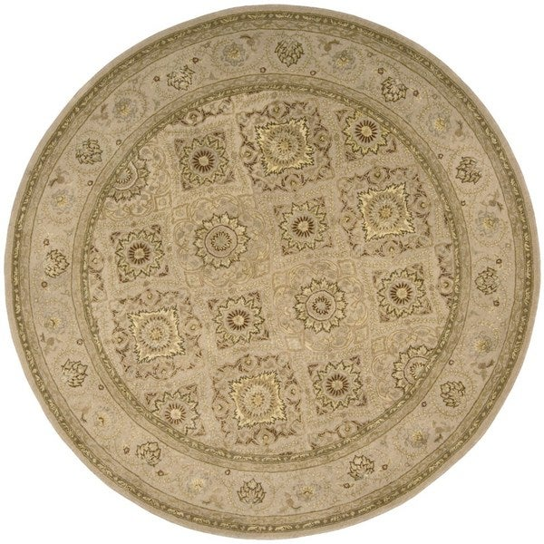 Floral Squares 3000 Beige Wool Area Rug (6' Round)