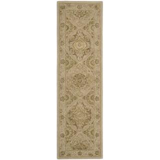 Floral Squares 3000 Beige Wool Runner Rug (2'3 x 8')