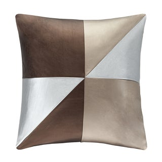 Madison Park Pieced Metallic Faux Leather Decorative Throw Pillow