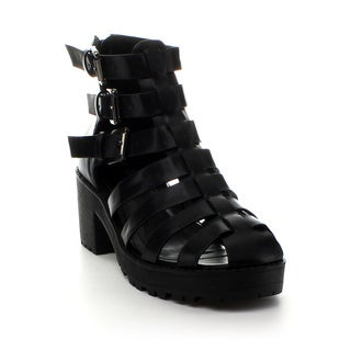 Refresh Women's 'UTurn' Black Caged Heels