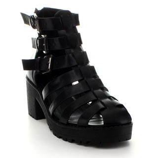 Refresh Women's 'UTurn' Black Caged Heels