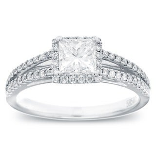 14k White Gold 1ct TDW Princess-cut Diamond Halo Ring (G-H, SI1-I2)