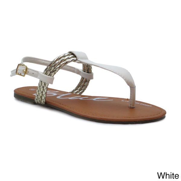 Blue Women's 'Yalta' Braided T-strap Flat Sandals