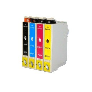 Epson T044 T044120 T044220 T044320 T044420 Ink Cartridge Set (Pack of 4 :1K/1C/1M/1Y) (Remanufactured)