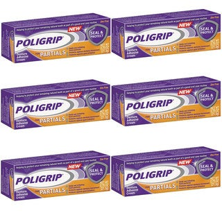 Poligrip for Partials Seal and Protect Denture Adhesive Cream (Pack of 6)