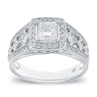 14k White Gold 1 1/3 TDW Vintage Princess-cut Diamond Ring (G-H, SI2-I1)