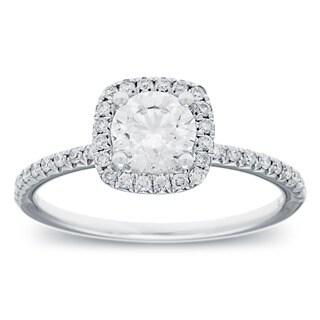 14k White Gold 1 1/10ct TDW Round-cut Diamond Halo Engagement Ring (G-H, SI2-I1)