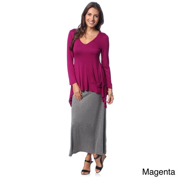 24/7 Comfort Apparel Women's Top Fashion Tunic Shirt with Bonus Maxi Skirt
