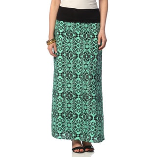 Hadari Women's Mint Sublime Pattern Maxi Skirt