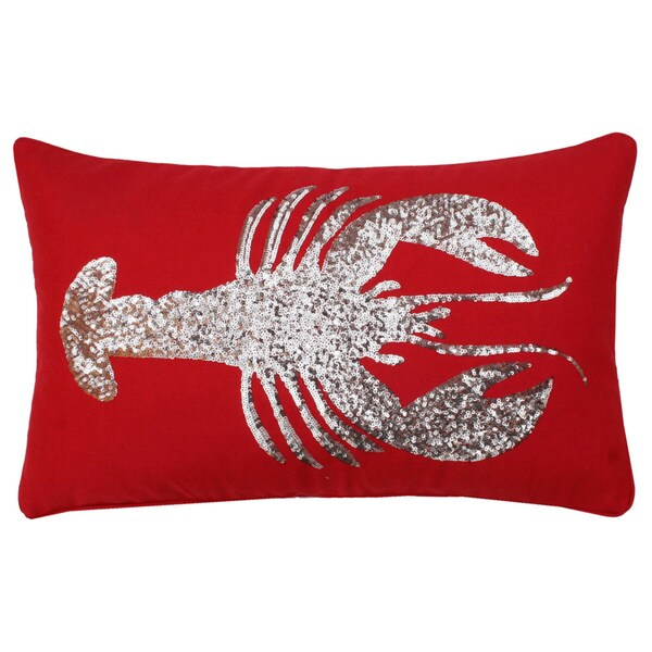 Lobster Sequin 12x20-inch Throw Pillow (Red or White)