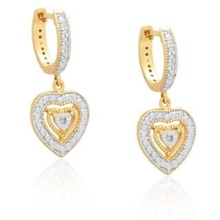 Finesque Diamond Accent Dangle Heart Earrings