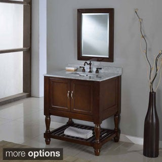 32-inch Dark Brown Mission Turnleg Spa Single Vanity Sink Cabinet