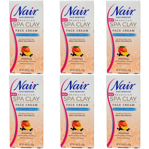 Nair Brazilian Spa Clay Sensitive Formula 0.69-ounce Face Cream Hair Remover (Pack of 6) 12718072