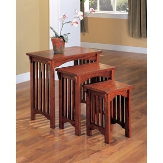 3-piece Oak-finish Nesting Table Set