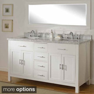 63-inch Hutton Pearl White Double Bathroom Vanity Sink Console Set