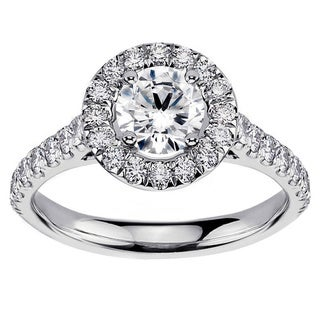 14k/18k White Gold or Platinum 1 3/5ct Brilliant-cut Round Diamond Bridal Ring Set (F-G, SI1-SI2)