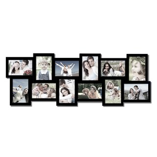 Adeco 12-opening Black Wooden Wall Hanging Collage Photo Frames
