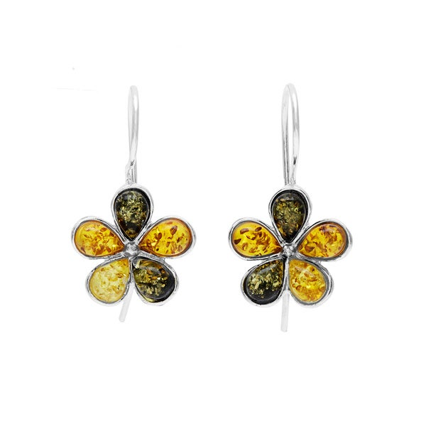 Sterling Silver Amber Flower Earrings