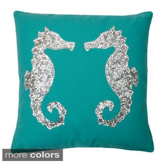 Seahorse Sequin Feather Fill Throw Pillow 18x18